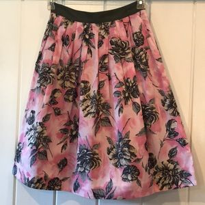 Floral print pink and grey skirt